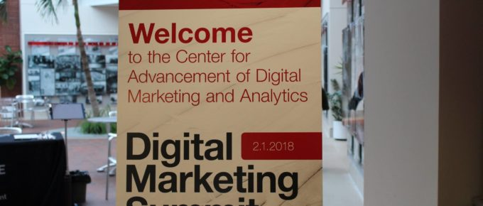 CADMA Digital Marketing Summit sign at the entrance of the Ball State University Alumni Center