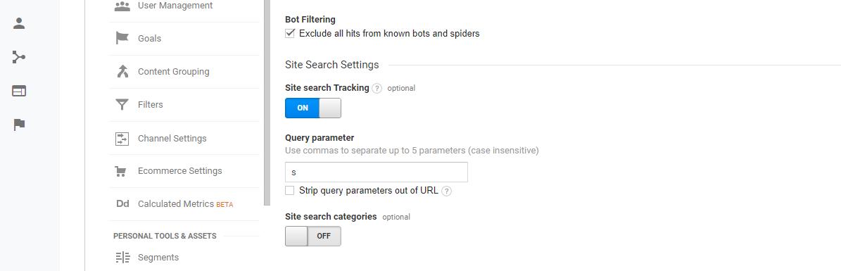 WordPress Site Search Tracking in Google Analytics